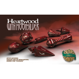 PolyHero Dice Wizard Set - Heartwood with Moonsilver