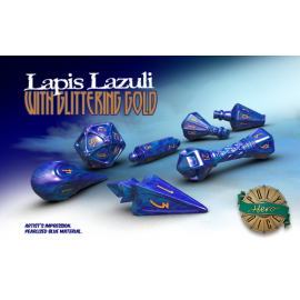 PolyHero Dice Wizard Set - Lapis Lazuli with Glittering Gold
