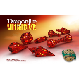 PolyHero Dice Wizard Set - Dragonfire with Brimstone
