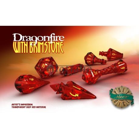 PolyHero Dice Wizard Set - Dragonfire with Brimstone