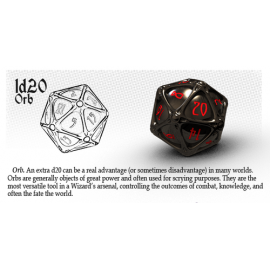 PolyHero Dice 1d20 Orb - Ethereal Ice with Burning Blue
