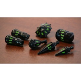 PolyHero Dice Warrior Set - Black with Goblin Green