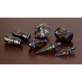 PolyHero Dice Warrior Set - Steel Grey with Molten Copper
