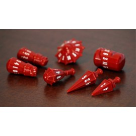 PolyHero Dice Warrior Set - Crimson with Bone White
