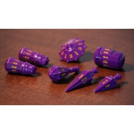 PolyHero Dice Warrior Set - Vorpal Purple with Amber