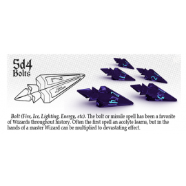 PolyHero Dice 5d4 Bolts - Violet Storm with Lightning