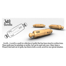 PolyHero Dice 3d8 Scrolls - Parchment with Black Ink