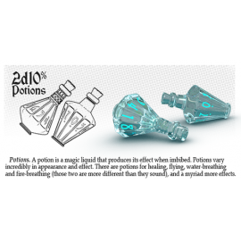 PolyHero Dice 2d10 Potions - Ethereal Ice with Burning Blue