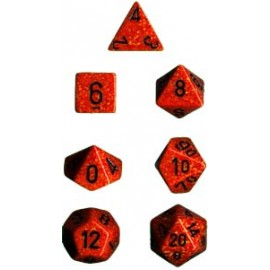 Speckled Polyhedral 7-Die Sets - Fire