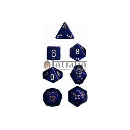 Speckled Polyhedral 7-Die Sets - Golden Cobalt
