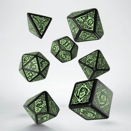 Celtic 3D Revised Black & green Dice Set (7) [refreshed design]