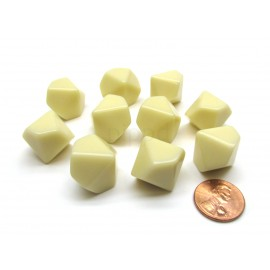 Opaque Polyhedral Ivory Bag of 10 Blank 10-sided dice