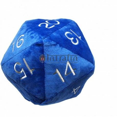 Jumbo D20 Dice Plush in Bleu with Silver Numbering