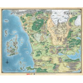 "Dungeons & Dragons ""Faerûn"" - Realm and Sword Coast Map (27"" x 32"")"