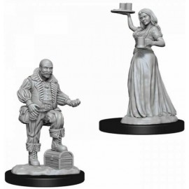 Pathfinder Deep Cuts Unpainted Miniatures: Merchants- Serving Girl and merchant