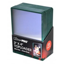 "Toploader 3""x4"" Green border 25ct"