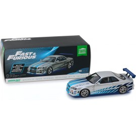 2 Fast 2 Furious -Nissan Skyline GT-R (R34) with LED Neon Light Underglow-1:18 Artisan Collection