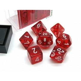 Translucent Polyhedral Red/white 7-Die Set