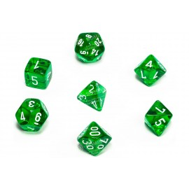 Translucent Polyhedral Green/white 7-Die Set
