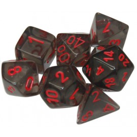 Translucent Polyhedral Smoke/red 7-Die Set