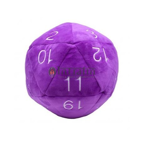 Jumbo D20 Dice Plush in Purple with White Numbering