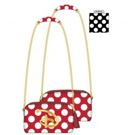 Loungefly Red/Wht Polka Dot Disney Logo Cross Body Bag