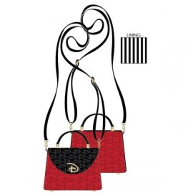Loungefly Red/Blk Disney Logo Debossed Cross Body Bag W/Removable Strap