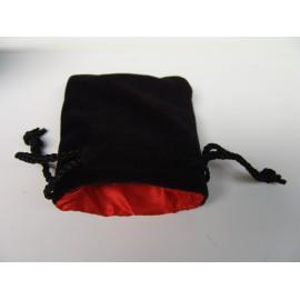 Velvet Dice Bag Black/Red 9x10cm