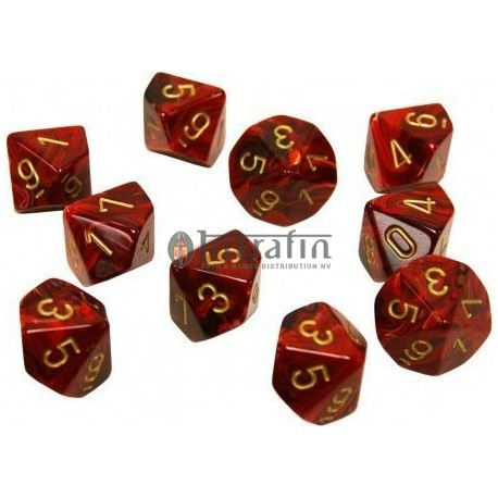 Vortex Burgundy w/gold Set of Ten d10's