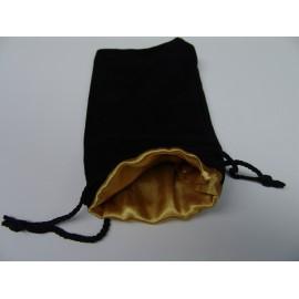 Velvet Dice Bag Black/Gold 12x20cm