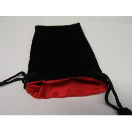 Velvet Dice Bag Black/Red 12x20cm