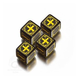 Black & Yellow Antique Fudge Dice (4)