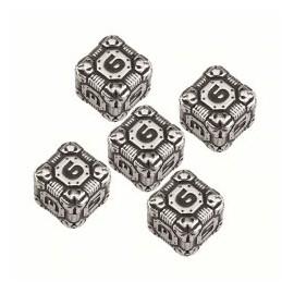 Metal D6 Tech Dice Set (5) Box