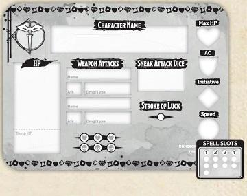 Player Board /& 23 Tokens Rogue Token Set Dungeons /& Dragons