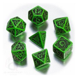Green & Black Celtic 3D Dice set (7)