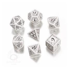 White & Black Elvish Dice Set (7)