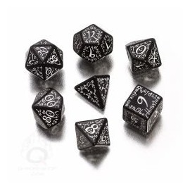Black & White Elvish Dice Set (7)