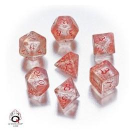 Transparent & Red Elvish Dice Set (7)