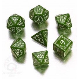 Green & White Elvish Dice Set (7)