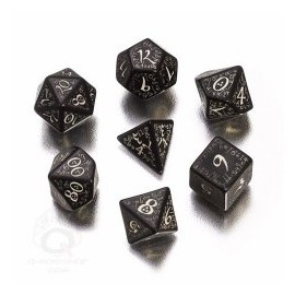 Black & Glow in the Dark Elvish Dice Set (7)