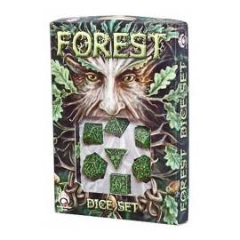 Green & Black Forest 3D Dice set (7)