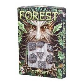 Beige & Black Forest 3D Dice set (7)