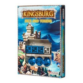 Blue & Black Kingsburg Dice and Tokens Set (4+3)