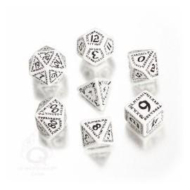 White & Black Runic Dice Set (7)