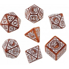Clockwork Caramel & White Steampunk Dice Set (7) Box