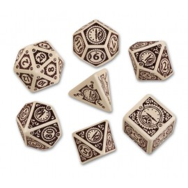 Clockwork Beige & Brown Steampunk Dice Set (7) Box