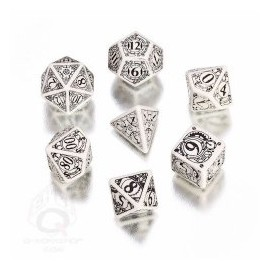 White & Black Steampunk Dice Set (7) Box