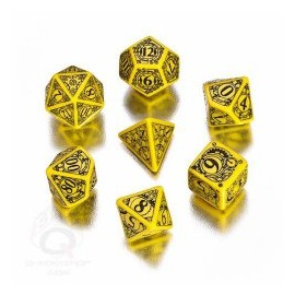 Yellow & Black Steampunk Dice Set (7) Box