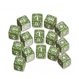 Green & White Battle D6 USA Dice (10)