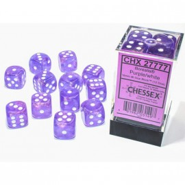 Borealis™ 16mm d6 Purple/White Luminary Dice Block (12 Dice) ACC NEW